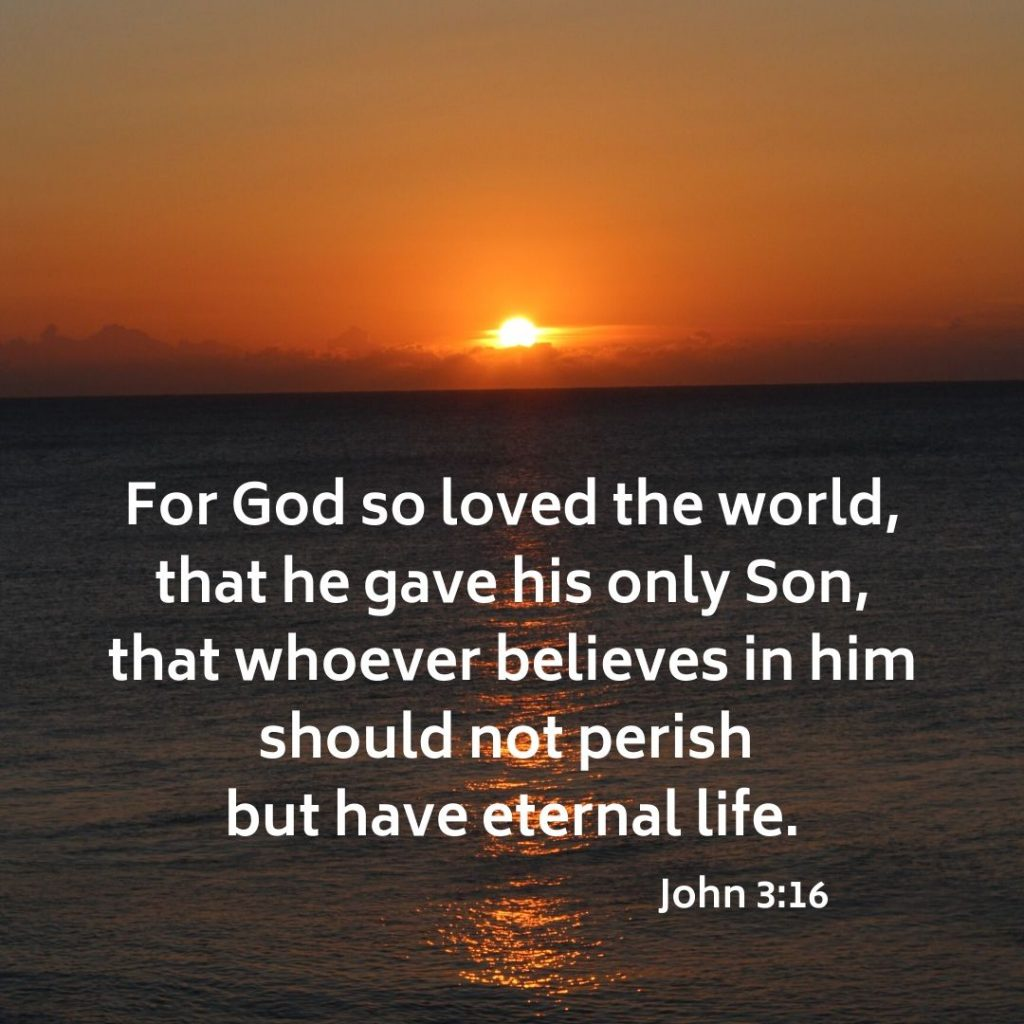 The Gospel: For God so loved the world, that he gave his only Son, that whoever believes in him should not perish but have eternal life.